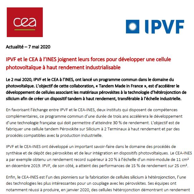 IPVF et le CEA à l'INES joignent leurs forces pour développer une cellule photovoltaïque à haut rendement industrialisable